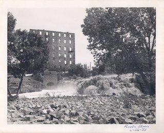 Fire gutted Queen Bee Mill, ca. 1961