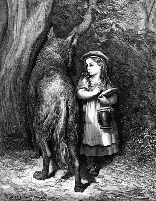 etching of little red riding hood