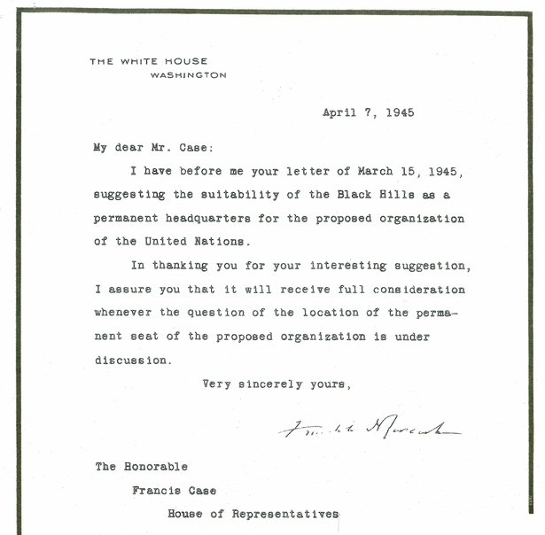 letter from FDR to Francis Case