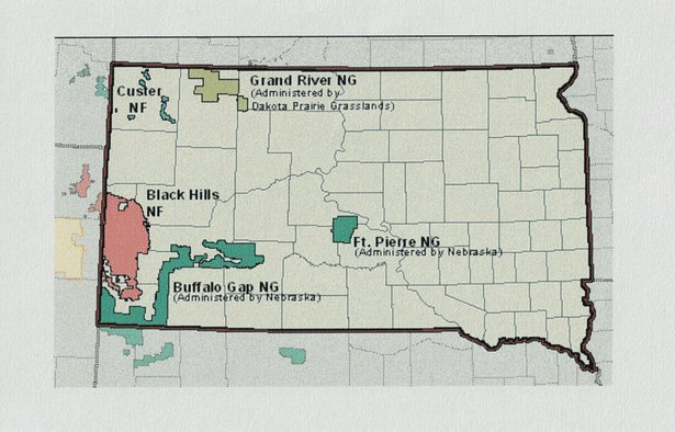 national forest map of South Dakota