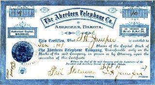 Aberdeen Telephone Stock Certificate