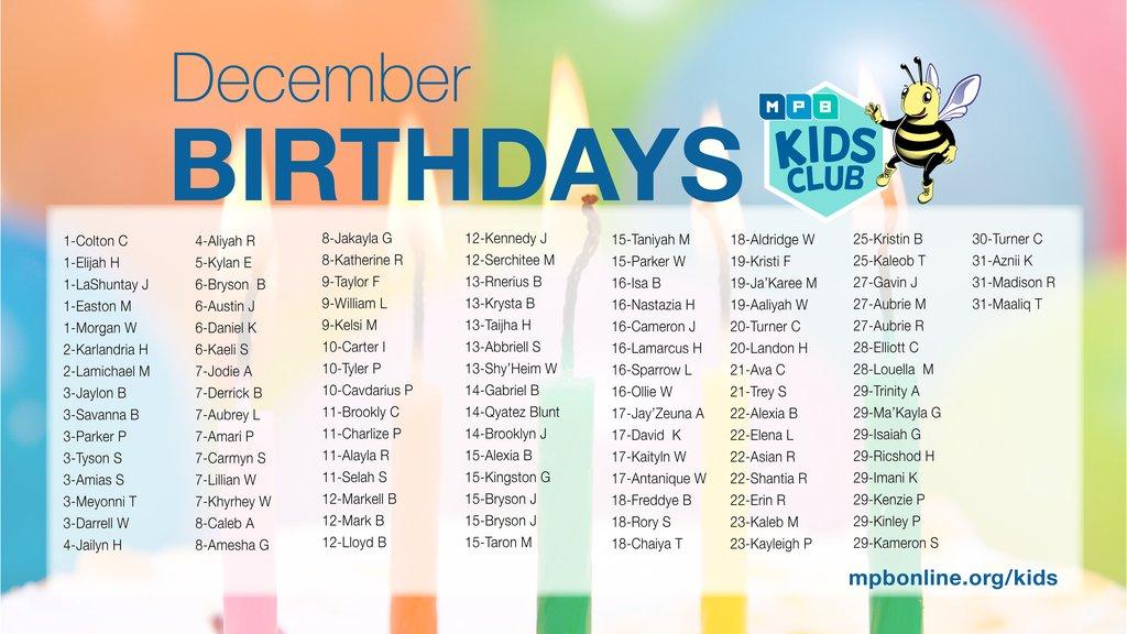 Dec Birthdays 2017