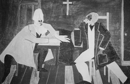 Douglass argued against John Brown's plan to attack the arsenal at Harpers Ferry, painting by Jacob Lawrence.