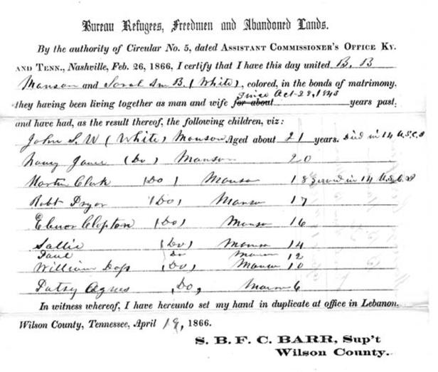Freedman's Bureau marriage certificate