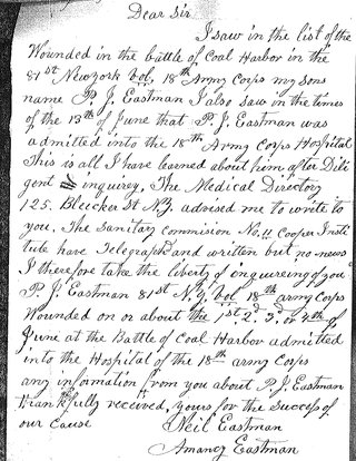 Letter from Mrs. Eastman to the Surgeon General's Office