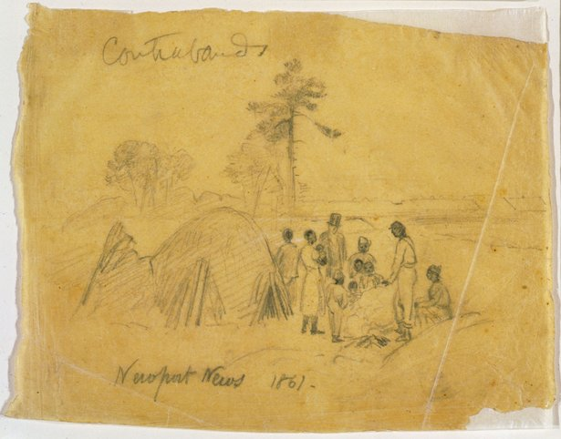 Contraband camp in Newport News, Virginia. Credit: Alfred Waud, 1861, Morgan collection of Civil War drawings, Library of Congress