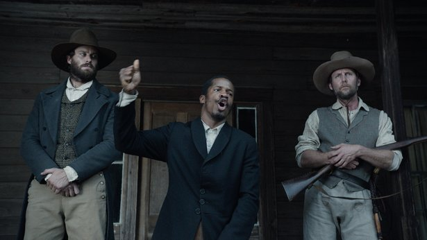 "Armie Hammer, left, Nate Parker and Jayson Warner Smith star in ""The Birth of a Nation."""