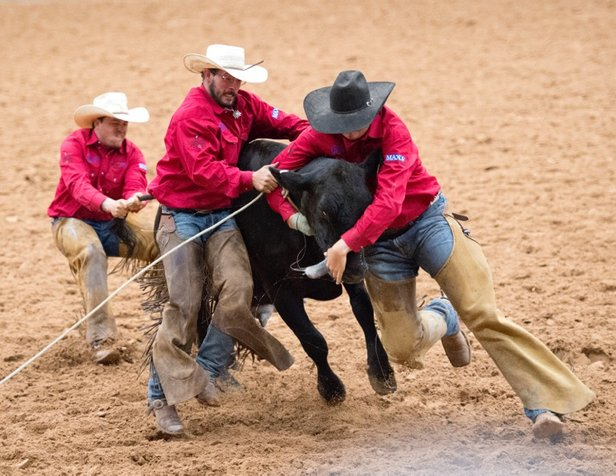 Singleton Ranch cowboys compete in the Coors Ranch Rodeo.
