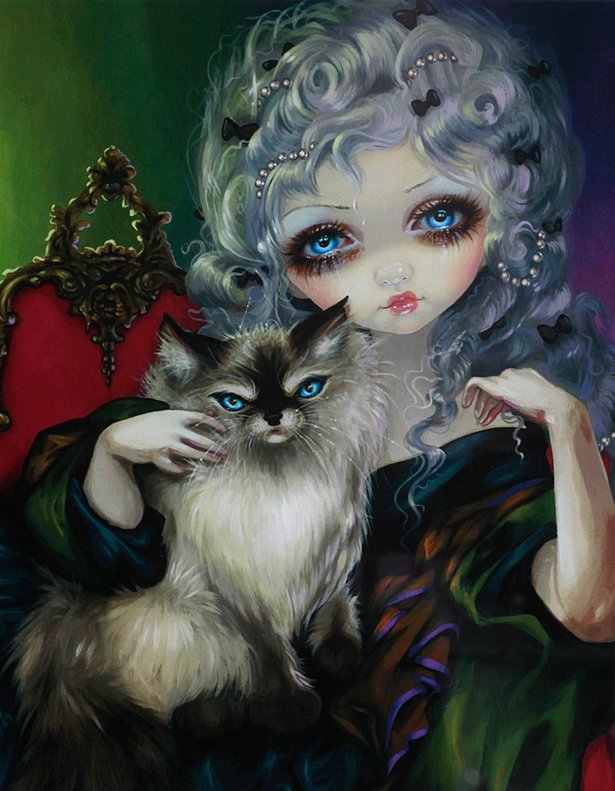 "Jasmine Griffith's ""Princess with Ragdoll Cat"" is among the works hanging in a new exhibition at ArtGecko."