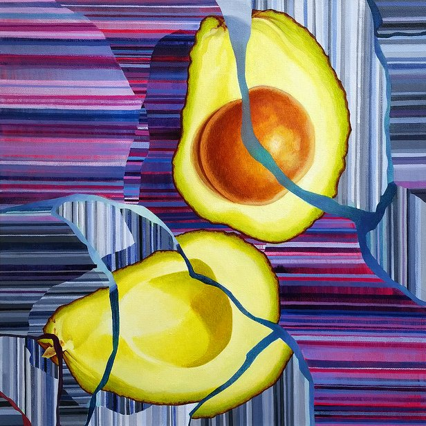 """Sarah Atlee's """"Avocado Cracked"""" will be featured in """"On Edge, Part 1"""" at Cerulean Gallery."""