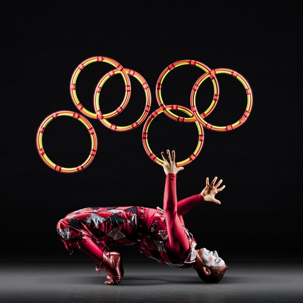 Vladimir Tsarkov performs a rings act for Cirque de la Symphonie. The troupe will perform with Amarillo Symphony.