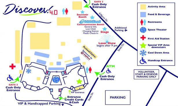 Map showing different activity areas at Discover! 4.0.