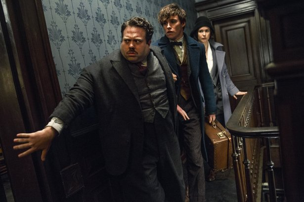 "Dan Fogler, Eddie Redmayne and Katherine Waterston star in ""Fantastic Beasts and Where to Find Them."""