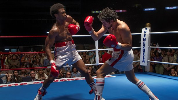 "Sugar Ray Leonard (Usher Raymond) and Roberto Duran (Edgar Ramirez) duke it out in ""Hands of Stone."""