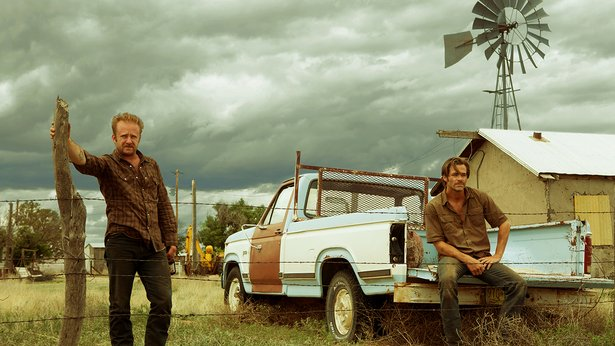 "Ben Foster and Chris Pine star in ""Hell or High Water."""