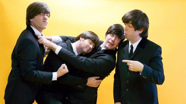 "Nate Bott (""John""), Axel Clarke (""Ringo""), Jesse Wilder (""George"") and Chris Paul Overall (""Paul"") clown around in ""In My Life."""