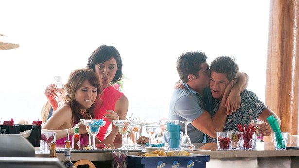 """Anna Kendrick, from left, Aubrey Plaza, Zac Efron and Adam Devine star as messy party people in """"Mike & Dave Need Wedding Dates."""""""