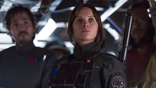"""Diego Luna, left, and Felicity Jones star in """"Rogue One: A Star Wars Story."""""""
