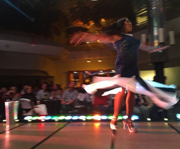 Michael Maupins is caught mid-twirl as Mary J. Blige in the 2015 Turnabout fundraiser.