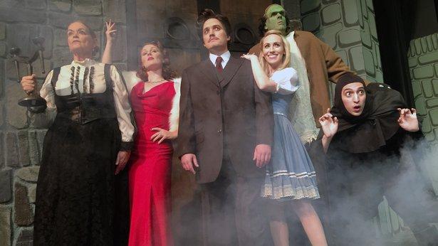 "Janice Easterday, Kristen Loyd, Stephen Crandall, Annika Spalding, Zeke Lewis and Ryan Sustaita star in ALT's ""Young Frankenstein."""