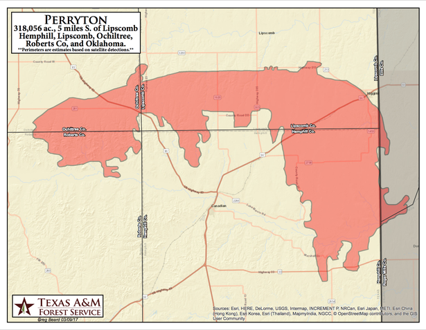 The Texas A&M University Forest Service has released this map of the Perryton Fire,  in Hemphill, Lipscomb and Ochiltree counties.