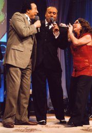 """Smokey Robinson, Howard Hewett, and Teena Marie perform """"Crusin'"""" during the finale of An Evening With Smokey Robinson."""