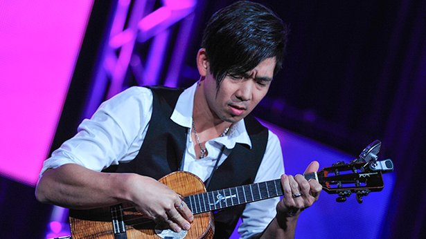 Jake Shimabukuro performs at the PBS Television Critics Association Winter Press Tour in Pasadena, California.
