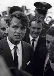 "Robert Kennedy arriving in Cape Town, the site of his famous ""Day of Affirmation"" speech."