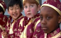 Durrell Laury and his kindergarten pals in Chinese clothes.