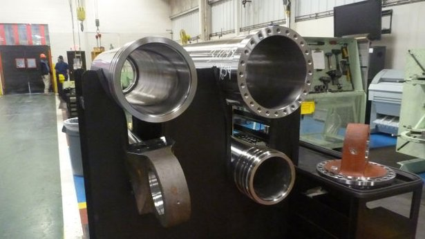 Strut housing for truck waiting to be assembled.