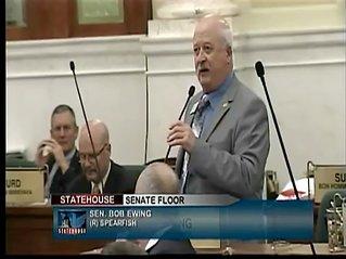 Senator Bob Ewing gives an opposing statement to SB7.