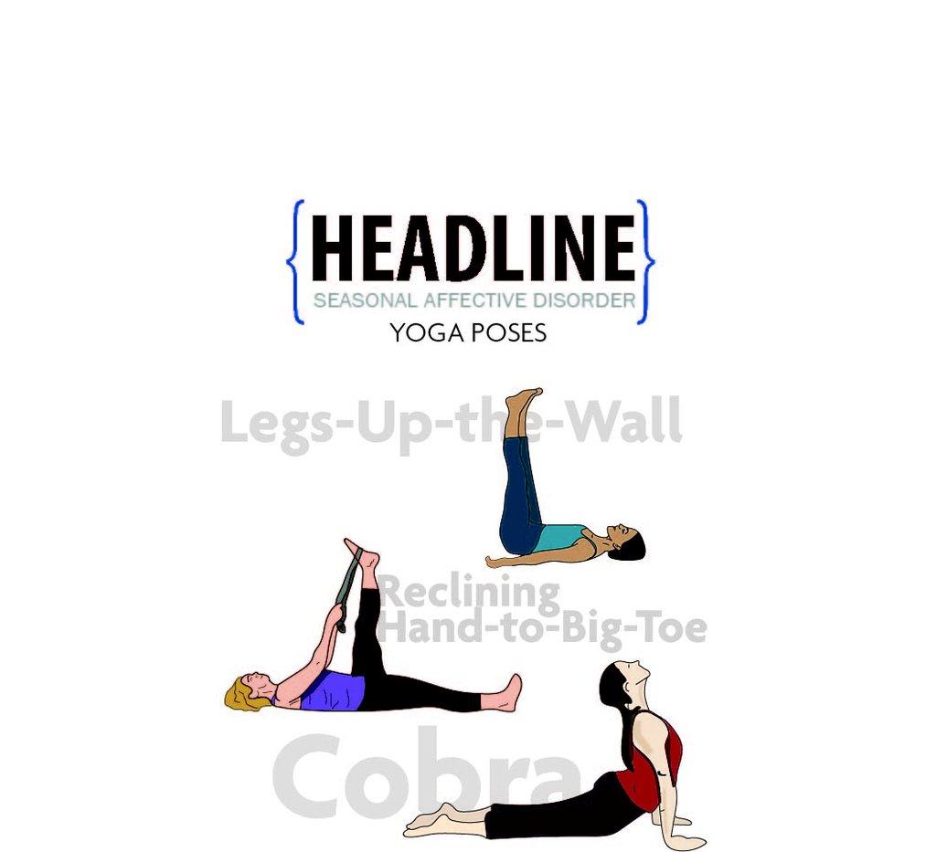 Illustration of yoga poses to help combat Seasonal Affective Disorder (SAD)