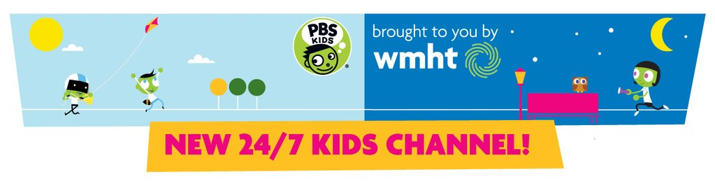 WMHT PBS Kids 24/7 Promotion - featuring an illustration of kids playing on a half daytime/half nighttime background