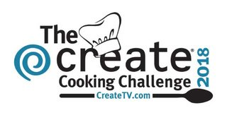 The Create Cooking Challenge 2918 logo featuring a chef's hat on the letter 'e' in the word Create. The logo has black and blue type.