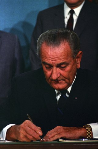 President Johnson Signing the Public Broadcasting Act of 1967.