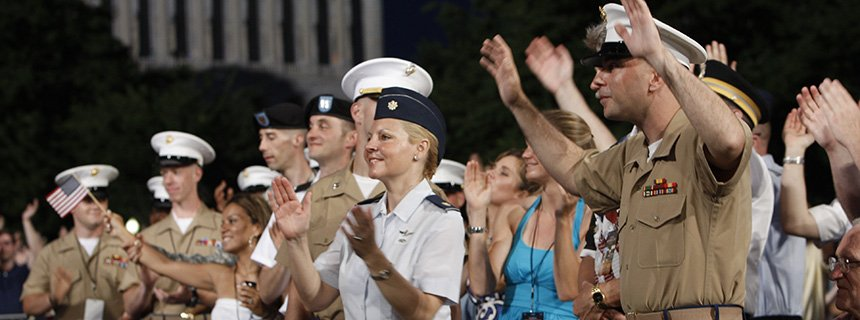 Servicemen and servicewomen attend the National Memorial Day Concert