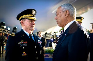 General Martin Dempsey and General Colin Powell at the National Memorial Day Concert