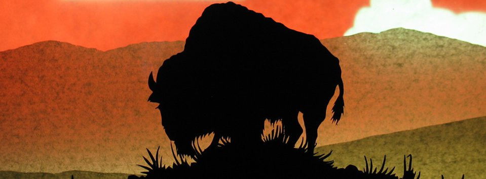 Animation still of a bison in silhouette on a grassy knoll.