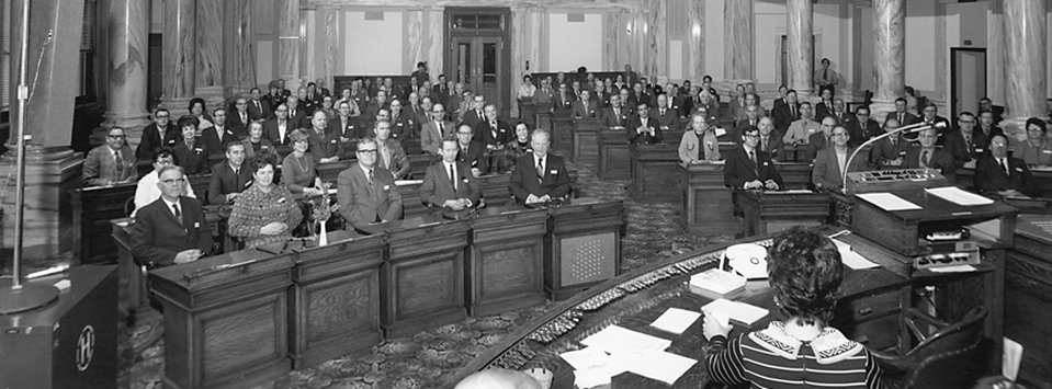 Constitutional Conventional delegates in House chambers, 1 December 1971, unidentified photographer