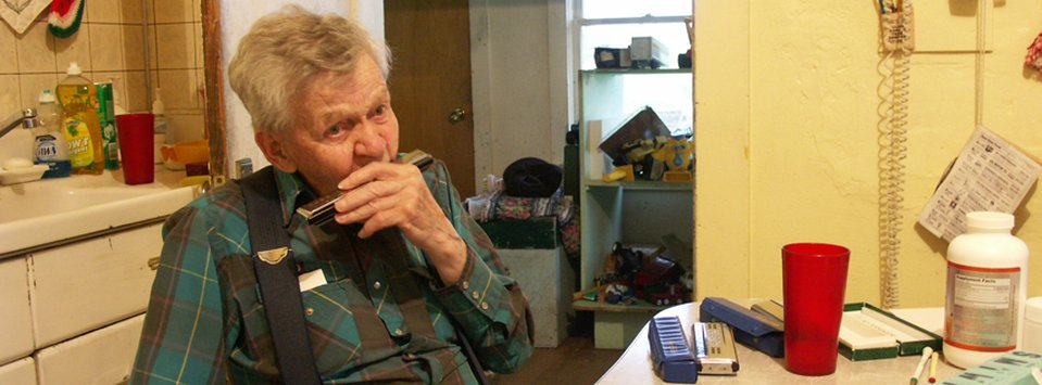 "Clarence ""Harmonica Man"" Rostad, a 93 year old retired rancher and harmonica legend."