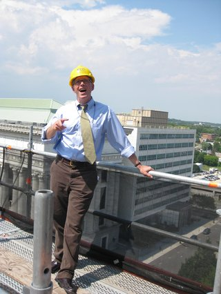Casey Seiler on Capitol roof