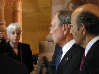 Karen DeWitt with Michael Bloomberg