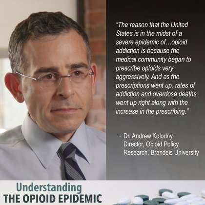 "Dr. Koladny "" The reason that the United States is in the midst of a severe epidemic of opioid addiction is because the medical community began to prescribe opioids very aggressively."""