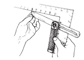 Set the sliding bevel for an angle of 1:6.