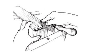 Align a side on the front and draw back the saw in the kerfs.