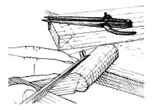 Saw the shoulders of the barrel and pare it round with chisel and plane.