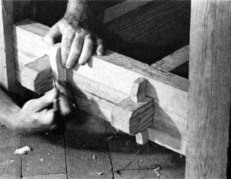 Scribe around the key to lay out the mortice for a tusk tenon.