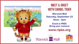 Daniel Tiger will be at the Warwick Mall on Saturday, September 23