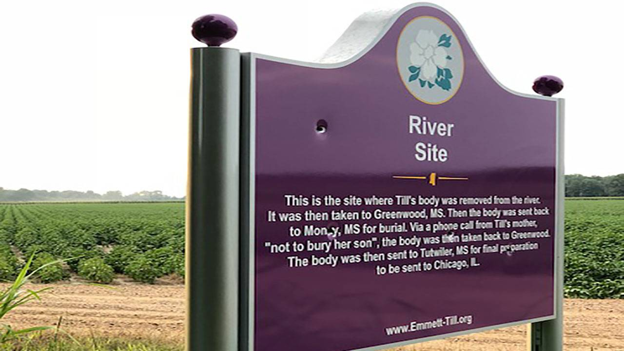 Emmett Till Sign Vandalized Again