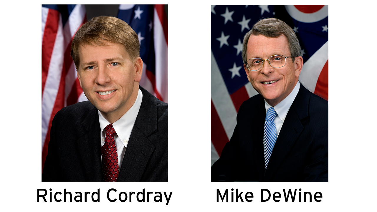 Richard Cordray (left); Mike Dewine (right)